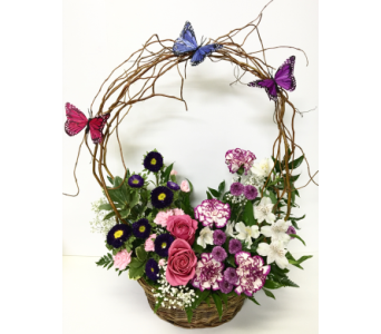 Butterfly Bow in 12 Inch Basket-Designed One-Sided in Wyoming MI, Wyoming Stuyvesant Floral