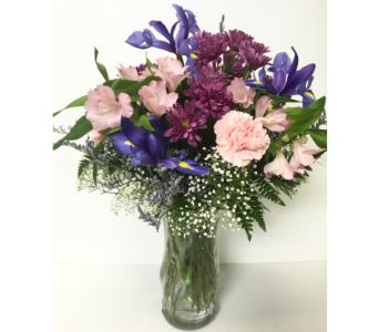Iris & Pastel Vase Arrangement-Designed All-Around in Wyoming MI, Wyoming Stuyvesant Floral