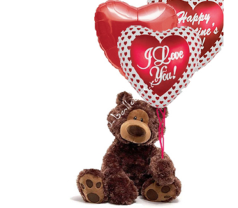 Valentine's Bear With 3 Mylars in 1-800 Balloons NV, 1-800 Balloons