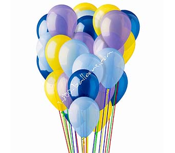 25 Blue, Lt Blue, Lavender & Yellow Latex Balloons by 1-800-balloons