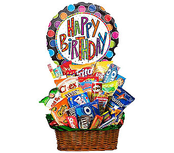 Junk Food Basket w/Birthday Mylar! by 1-800-balloons