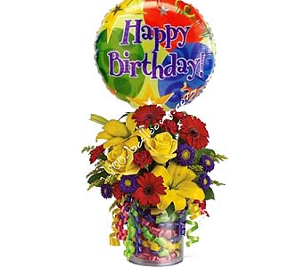 Birthday Ribbon Bouquet DX by 1-800-balloons