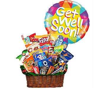 Junk Food Bucket w/Get Well Soon Balloon! by 1-800-balloons