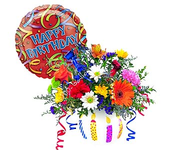 Brilliant Birthday Blooms by 1-800-balloons