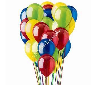 25 Red Yellow Blue & Green Latex Balloons by 1-800-balloons
