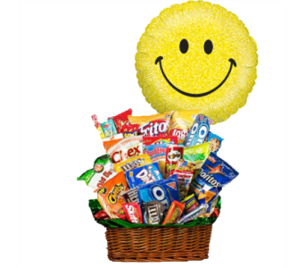 Junk Food Bucket w/Smiley Balloon! in 1-800 Balloons NV, 1-800 Balloons