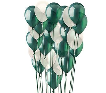 25 Green & White Latex Balloons in 1-800 Balloons NV, 1-800 Balloons