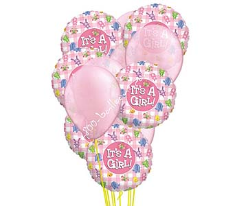Welcome Baby Girl Balloons by 1-800-balloons