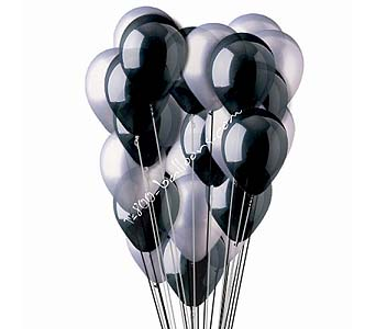 25 Silver And Black Latex Balloons by 1-800-balloons