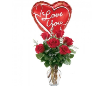 6 Red Roses Flowers And Balloons by 1-800-balloons