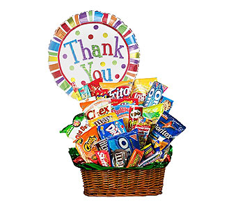 Junk Food Basket w/ThankYou Mylar by 1-800-balloons