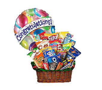 Junk Food Basket w/Congrats Balloon! by 1-800-balloons