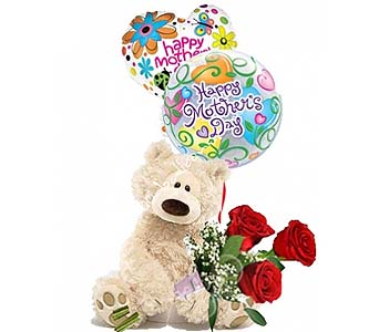 Medium Mothers Day Bear W Rose by 1-800-balloons