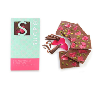 Sicilian Pistachio & Rose Petal Chocolate Bar in Metairie LA, Villere's Florist