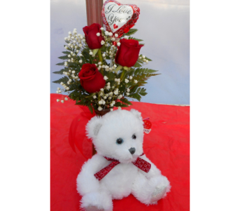 Red Rose Budvase with Bear in Skowhegan ME, Boynton's Greenhouses, Inc.