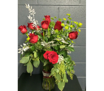 Dozen Roses with Bling in Eau Claire WI, May's Floral Garden, Inc.
