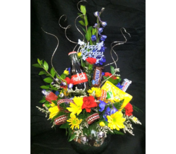 Flower Arrangement with Coke & candy in New Iberia LA, Breaux's Flowers & Video Productions, Inc.