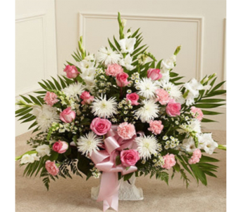 Pink & White Floor Basket in Indianapolis IN, George Thomas Florist