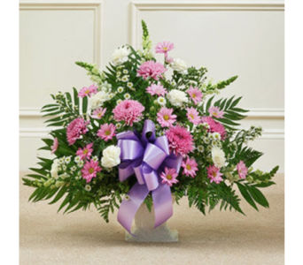 Lavender & White Floor Basket in Indianapolis IN, George Thomas Florist