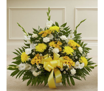 Yellow Floor Basket in Indianapolis IN, George Thomas Florist