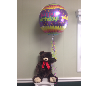 Plush Bear with Birthday Orbz in Athens GA, Flower & Gift Basket