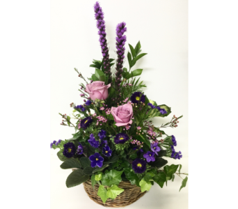 Violets and Fresh Basket Planter in Wyoming MI, Wyoming Stuyvesant Floral
