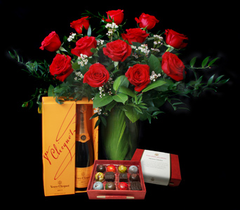 Champagne, Roses and Chocolate in Darien CT, Nielsen's Florist And Garden Shop