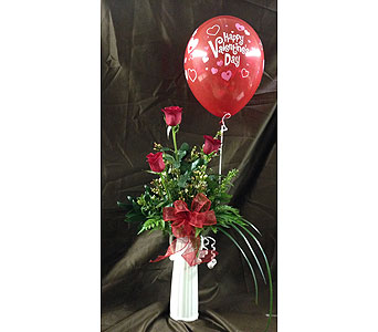 Triple Rose Bud with a Balloon in Wake Forest NC, Wake Forest Florist