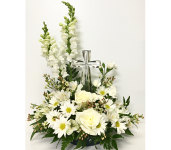 Purely White with Crystal Cross Arrangement in Wyoming MI, Wyoming Stuyvesant Floral