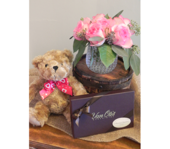 Precious Pink with Chocolates and Bear in Westfield MA, Flowers by Webster