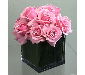 One Dozen Pink Roses and Diamonds in Aventura FL, Aventura Florist