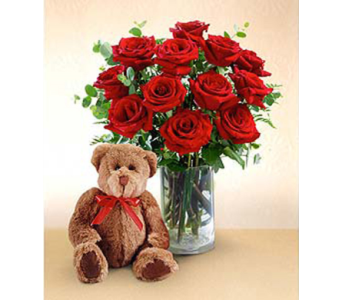 Bear And Roses in San Antonio TX, Blooming Creations Florist