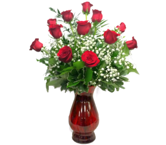 SIGNATURE LONG STEM PREMIUM DOZEN ROSES - RED VASE in Arlington VA, Twin Towers Florist