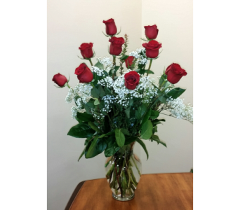 Classic Red Roses & babie's breath in Naples FL, Gene's 5th Ave Florist