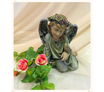 Sitting Angel with Dove in Owensboro KY, Welborn's Floral Company