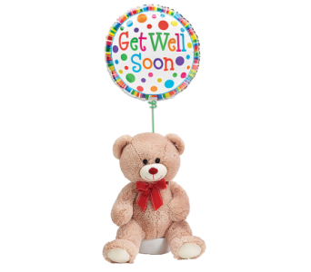 Get Well Bear and Balloon in Princeton, Plainsboro, & Trenton NJ, Monday Morning Flower and Balloon Co.