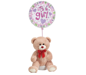 Teddy Bear for A Baby Girl w/ Balloon in Princeton, Plainsboro, & Trenton NJ, Monday Morning Flower and Balloon Co.