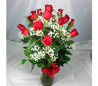 18 LONG STEM RED ROSES IN VASE in Ossining NY, Rubrums Florist Ltd.
