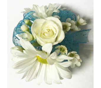 White & Turquoise child's wrist corsage in Wyoming MI, Wyoming Stuyvesant Floral