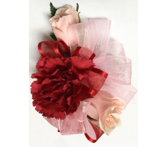 Red & Pink Sweetheart Child's Wrist Corsage in Wyoming MI, Wyoming Stuyvesant Floral