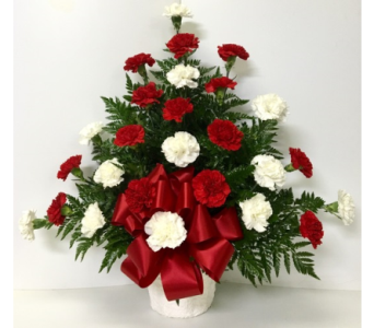 Traditional Red & White Sympathy Arrangement in Wyoming MI, Wyoming Stuyvesant Floral