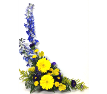 Yellow, Blue, and Purple Styled Arrangement in Wyoming MI, Wyoming Stuyvesant Floral