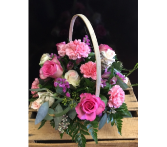 PINK TRADITIONAL FLORAL BASKET in Missouri City TX, Flowers By Adela