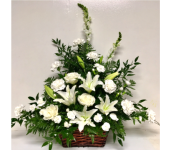White Sentiments Basket in Wyoming MI, Wyoming Stuyvesant Floral