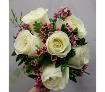 White Rose And Waxflower Bouquet in Rockledge PA, Blake Florists
