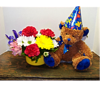 BIRTHDAY BEAR (BOY) in Claremont NH, Colonial Florist