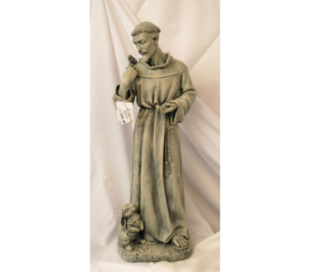 Large St. Francis statue in Hales Corners WI, Barb's Green House Florist