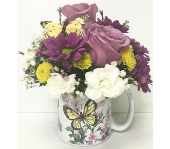 Butterfly Mug Arrangement in Wyoming MI, Wyoming Stuyvesant Floral