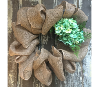 Burlap Wreath with Hydrangea in Easton MD, Robin's Nest