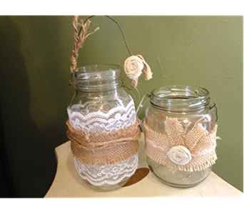 Burlap & Lace Jars in Fayetteville GA, Our Father's House Florist & Gifts